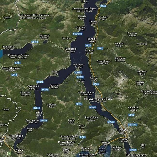 Карта - озеро Комо