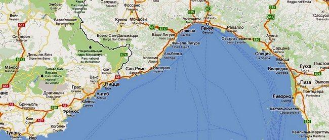 Карта побережья Лигурии