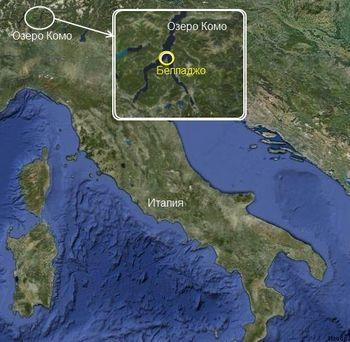 Расположение Белладжо на карте
