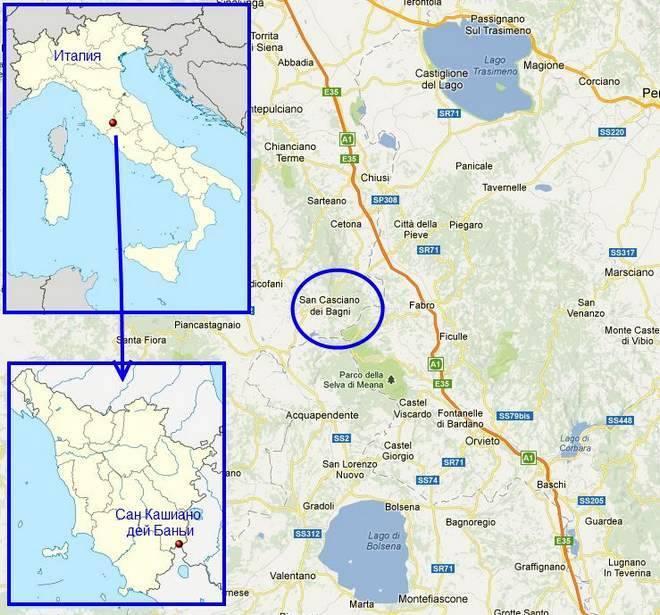 Расположение Сан Кашиано дей Баньи на карте