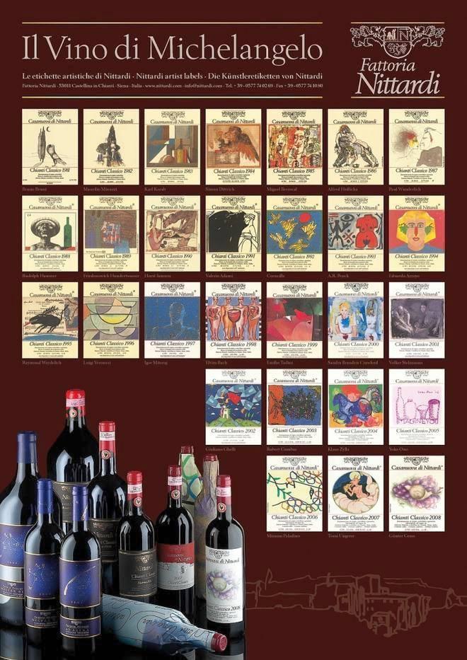 Постер Ниттарди с коллекцией этикеток