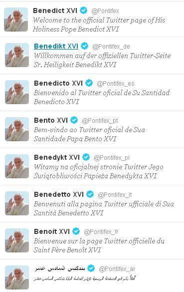 Twitter Папы Римского на 8 языках. Список аккаунтов.