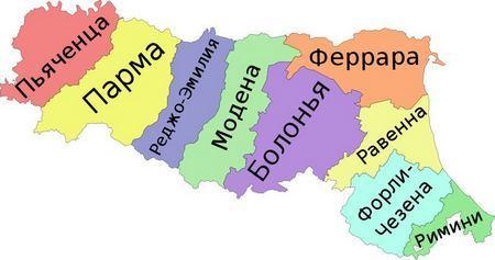 Провинции Эмилии-Романьи на карте региона