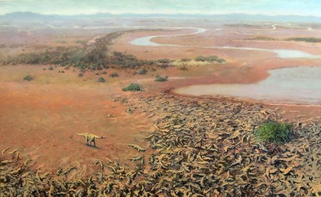 Реконструкция палеоэкологии возрастом 110 млн. лет - Динозавр Tataouinea Hannibalis приближается к колонии Sarcosuchus