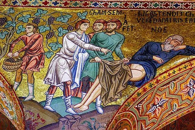 Грех Хама - мозаика в центральном нефе - Палатинская капелла