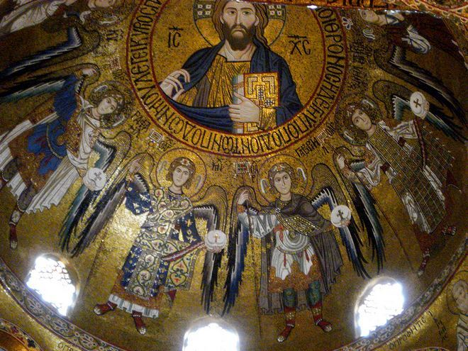 Христос Пантократор на мозаике купола Палатинской капеллы