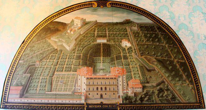 Люнет, Джусто Утенс (1599). Изображает палаццо Питти до момента расширения с амфитеатром и садами Боболи.
