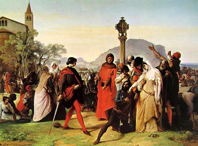 Франческо Хайес. Сицилийская вечерня. 1844-1846 - Галерея современного искусства.