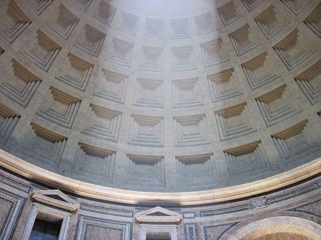 Пантеон - Световой столб с потолка