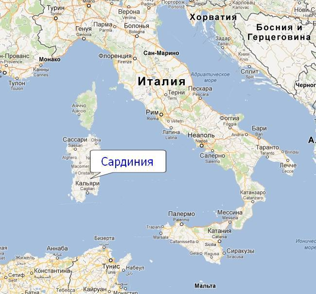 Остров Сардиния на карте