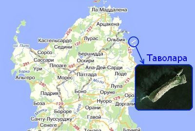 Остров Таволара на карте