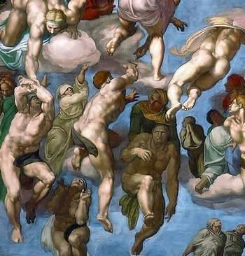 Прикрытые гениталии на Страшном суде Микеланджело