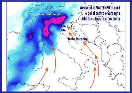Карта Италии - Распространение циклона на зону Лигурии