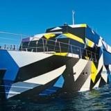 Первая психоделическая яхта (Guilty) на выставке в Генуе