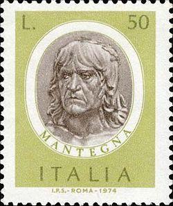 Андреа Матеньи на почтовой марке