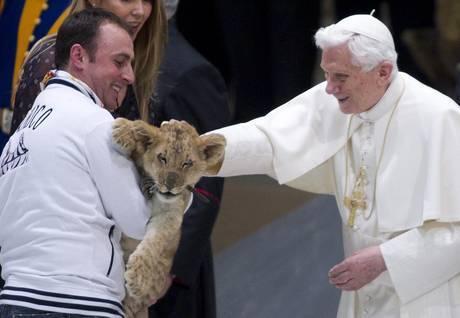 Папа Римский гладит львёнка Симбу