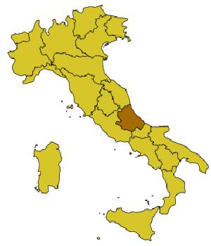 Абруццио на карте Италии