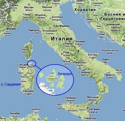 Остров Капрера на карте Италии