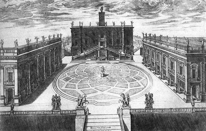 Капитолийская площадь (гравюра Этьена дю Перака, 1568)